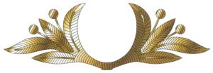 Рисунок шитья золотистого цвета на тулье фуражки